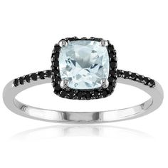 Sterling Silver Aquamarine and Black Diamond Ring (0.14 cttw), Size 6