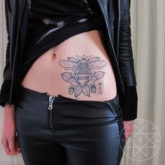 Check Kim Papadatos Rense's woodcut/etching inspired tattoos. #tattoo