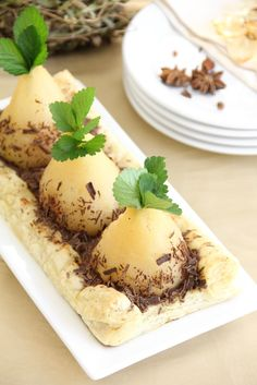 Sprinkle Bakes: Poached Pears in Puff Pastry Bed (Like Planting Fall Bulbs)