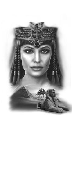 Egypt Tattoo Design, Egypt Design, Cleopatra Tattoo, Half Sleeve Tattoos Drawings, Egyptian Tattoo Sleeve, Girl Face Tattoo, Mythology Tattoos, Lion Tattoo, Anubis