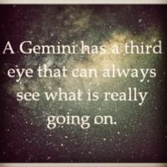 A Gemini has a third eye that can always see what is REALLY going on.  this is so very very true!!