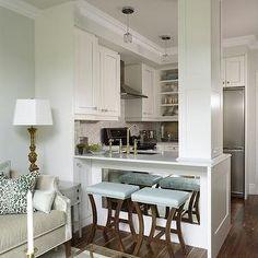Blue Bar Stools, Transitional, kitchen, Para Paints Eyelet, Sarah Richardson Design