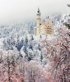 Neuschwanstein Castle in winter wonderland