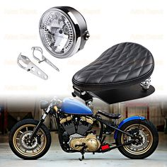 "3"" Synthetic Leather Diamond Solo Seat w/Springs + Sliding T-Bar + Swivel Bracket Mounting + 8"" Headlight Integrated Turn Signal + 35mm-43mm Bracket Kit —– 🚀 Fast shipping 🏍️ Unique Combo 💰 Save up to 34% https://amzn.to/2GIgMgr"