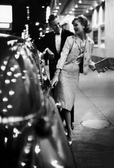 Gordon Parks: Woman wearing Daridow copy of Chanel evening suit. 1958 (aaah...knock-offs.... )