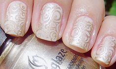 Bridal Gold And Nude Nail Art A Gorgeous Look For Wedding Day Manicure