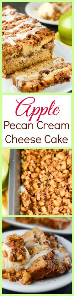 This Apple Pecan Cream Cheese Cake made with fresh apples, cinnamon, chopped pecans, and a cream cheese filling, topped with a vanilla glaze is a delicious fall dessert your guests will love. ~ http://FlavorMosaic.com