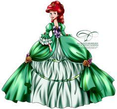 Court of Versailles - Ariel by tiffanymarsou on DeviantArt Disney Artwork, Disney Fan Art, Disney Drawings, Disney Love, Disney Pixar, Walt Disney, Disney Characters, Disney Nerd, Disney Princess Fashion