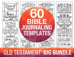 60 Bible Journaling Printable Templates OLD TESTAMENT Illustrated Faith Verse St