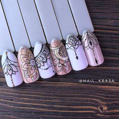 various - Nails ideas Dream Nails, Love Nails, Pretty Nails, Henna Nails, Henna Nail Art, Art Deco Nails, Mandala Nails, Nagellack Design, Manicure E Pedicure