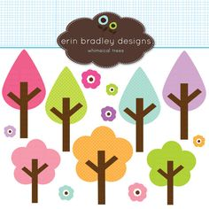 Tree and Flowers Clipart Clip Art Personal & by ErinBradleyDesigns, $5.00