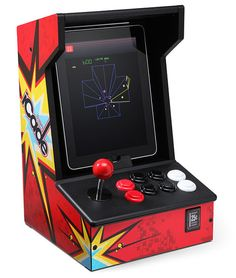 iPad Arcade  Nothing beats the classic arcade setup with a joystick and rows of big colorful buttons. The iCADE iPad Arcade Cabinet ($100) allows you to slide your iPad into an old-school arcade console and play your favorites, like Battlezone, Asteroids, and Tempest. Download the Atari Greatest Hits app (free) to have access to all your classic arcade favorites.