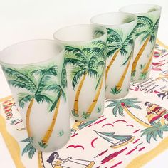 Vintage palm tree glasses tumblers hand painted by 3floridagirls