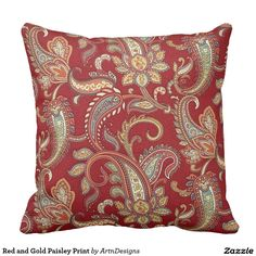 Red and Gold Paisley Print Throw Pillow.  Artwork designed by ArtnDesigns. Price $49.60 per pillow  #ethnicpaisleypatternmotif #ethnicstylecushion #ethnicstylehomedecor