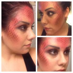 Game of thrones house targaryen inspired red dragon makeup. Done with NO Airbrushing, just cream and powdered makeup and fishnets.