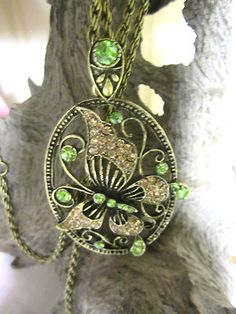 New Rhinestone Antiqued Brass Butterfly Pendant Necklace