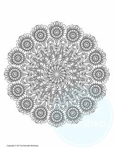 FREE Coloring Page For Adults Digital Prints Illustration Grownups Art Therapy Color Stress Relief By NomadicWorkshop On