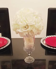 and Centerpiece Vase, Cylinder Vase, Rhinestone Vase, Candle Holder, Rhinestone Cy Flower Ball Centerpiece, Wedding Vase Centerpieces, Centerpiece Ideas, Quinceanera Centerpieces, Wedding Vases, Shower Centerpieces, Princess Party Decorations, Wedding Decorations, Quince Decorations