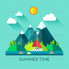 Summer Time. Vector Flat Illustration boat, ecology, field, fishing, flat, harmony, hill, icon, illustration, island, lake, landscape, mountain, natural, nature, ocean, resort, river, sail, sea, spring, summer, sun, tourism, travel, tree, vacation, vector, waves, Summer Time. Vector Flat Illustration