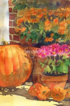 This original painting pictures bright orange surrounded by bright pink and orange flowers. If you are looking for floral watercolor art for the kitchen, this seasonal wall art will add energy to the room and a spot of bright cheerful color. Watercolor Cards, Watercolor Print, Watercolor Flowers, Watercolor Paintings, Watercolor Images, Watercolor Ideas, Painting Prints, Wall Art Prints, Fine Art Prints