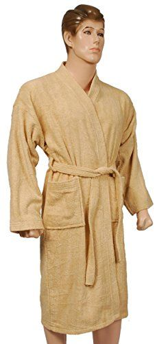 Men's Fashion Kimono Bathrobe 100% Ringspun Cotton Terry, Soft and Absorbent, L XL - Champagne ** Continue to the product at the image link.