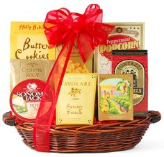 This festive, hand-crafted gift basket is great for the holidays or any time of year Contains Butter Toffee Pretzels, Three Pepper Water Crackers, Sonoma Jack Pepper Jack Cheese, and more Packaged in a re-usable wicker basket Wine.com Something Sweet & Savory Snack Gift Basket