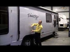 """RV Lifestyle Consultant, Chad Shepard provides an up close and personal look at the all-new Vantage Travel Trailer manufactured by Keystone RV Company. Chad points out key construction and convenience features in this contemporary style RV such as, Curved Sidewalls (that provides 101"""" body width), Frameless Windows, Walk-in Closet, One-Piece Laminated Flooring, and Recessed LED Lighting."""
