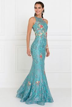 Elegant long dress has high neckline with open shoulders with flower embroidery throughout the dress and silver lace overlay. The dress has mermaid shape and zipper back. Stunning Dresses, Beautiful Gowns, Elegant Dresses, Pretty Dresses, Ball Gown Dresses, Prom Dresses, Dresses For Teens, Occasion Dresses, Amanda