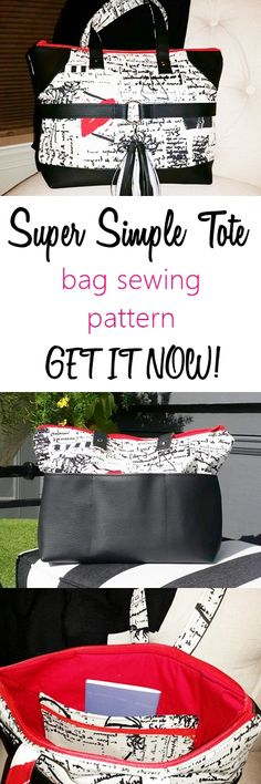 bag sewing pattern   tote sewing pattern   beginner tote pattern   easy tote pattern