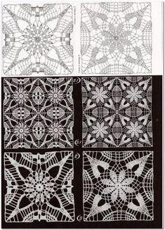 "Photo from album ""Дуплет on Yandex.Disk - Her Crochet Crochet Motif Patterns, Crochet Squares, Crochet Granny, Crochet Designs, Crochet Doilies, Crochet Flowers, Crochet Lace, Stitch Patterns, Russian Crochet"