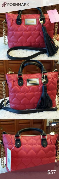 ❤HOST PICK❤Betsy Johnson NWT Pinch Red Xbody /Tote Betsy Johnson NWT Pinch Red Heart Pattern Xbody and Tote Bag, Removeable Crossbody Strap, 2 Slip pockets inside, Zip pocket inside, Zip Closure Betsy Johnson  Bags Crossbody Bags