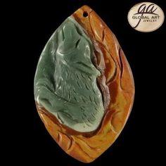 BI07421# Natural Hand Carved Wolf animal art Succor Creek Jasper Pendant Bead #Handmade #Pendant