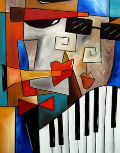 Darned Tootin - Original Cubist Art By Fidostudio Painting by Tom Fedro - Fidostudio