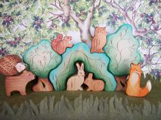 Waldorf wooden toys, Forest Set with Animals, Wood Toy