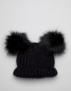 11a593904f7 Miss Selfridge beanie hat with faux fur poms in black