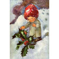 Christmas Fabric Block  Mushroom Girl w Holly  by KatyDidsFabrics