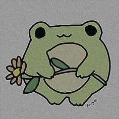 Indie Drawings, Art Drawings Sketches Simple, Easy Drawings, Cute Little Drawings, Cute Animal Drawings, Frog Drawing, Frog Art, Cute Frogs, Cute Doodles