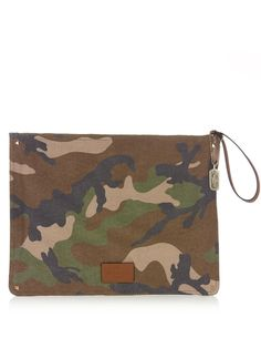 VALENTINO Camouflage-print canvas document holder. #valentino #bags #leather #lining #canvas #