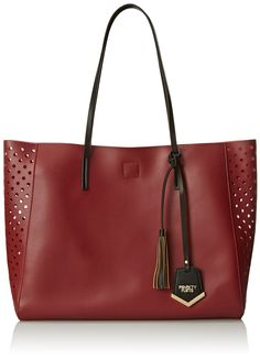 POVERTY FLATS by rian Perf Shopper Tote, Oxblood with pink liner.