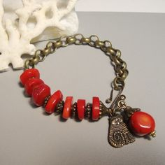 Red Coral Heishi and Charms Bracelet