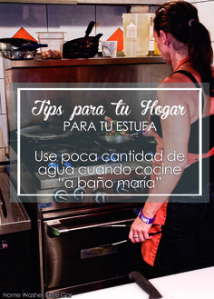 """#estufa TIPS PARA TU HOGAR """" Para tu estufa""""  Use poca cantidad de agua cuando cocine """"a baño maría"""", para que el calor, se obtenga en poco tiempo y se reduzca el consumo de gas. - Home Washer -"""