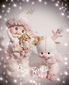 #Navidad #papanoel #porcelanafria #cute Polymer Clay Disney, Polymer Clay Dolls, Polymer Clay Flowers, Handmade Polymer Clay, Polymer Clay Ornaments, Polymer Clay Christmas, Pink Christmas, Christmas Crafts, Christmas Ornaments