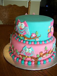 Heather Calvin Cakes: Owl themed cake for a girly girl!!