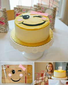 Emoji-themed birthday cake.