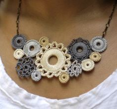 Crocheted Lace Whimsical Bib Necklace Shades by acupofgreenginger, $118.00
