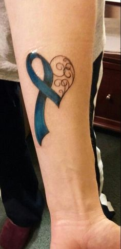 Got my colon cancer awareness tattoo last night! - Got my colon cancer awareness tattoo last night! Ovarian Cancer Tattoo, Cancer Awareness Tattoo, Cancer Survivor Tattoo, Cancer Ribbon Tattoos, Awareness Ribbon Tattoos, Melanoma Tattoo, Breast Cancer, Cancer Ribbons, Lung Cancer