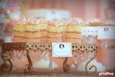 Cake towers at a pink & gold princess birthday party! See more party ideas at CatchMyParty.com!