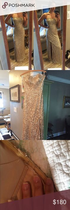 """Scala, size 0, gold sequin, full length, slit Scala, size 0, gold sequin, full length, sweetheart cut dress. Slit is not too high right above knee. Dress is unaltered. I am 5'7"""" and in the picture not wearing shoes, plenty of length for at least 4 in heels. Plastic boning poking out slighty but that can be easily sewn. Dress is in very good condition, sequins intact even at bottom of dress. Scala Dresses Prom"""