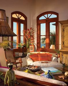 A great example of how to achieve a tropical look without palm tree motifs & other tropical cliches