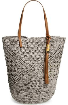 Straw Studio Tassel Crochet Bucket Tote available at Bag Crochet, Crochet Shell Stitch, Crochet Handbags, Crochet Purses, Love Crochet, Chesire Cat, Purse Patterns, Knitted Bags, Crochet Accessories